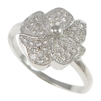Cubic Zirconia Micro Pave Brass Finger Ring, Flower, plated, micro pave cubic zirconia, more colors for choice, nickel, lead & cadmium free, 11.5mm, US Ring Size:6, Sold By PC