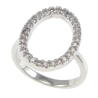 Cubic Zirconia Micro Pave Brass Finger Ring, Flat Oval, plated, micro pave cubic zirconia, more colors for choice, nickel, lead & cadmium free, 13x18mm, US Ring Size:6, Sold By PC