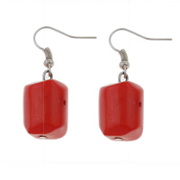 Coral Drop Earring, Natural Coral, brass earring hook, red, 14x39mm, Sold By Pair