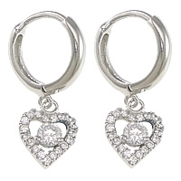 Cubic Zirconia Micro Pave Sterling Silver Earring, 925 Sterling Silver, Heart, plated, micro pave 40 pcs cubic zirconia, more colors for choice, 24mm,12.5x14x2.5mm,8.5x11x3.5mm, Sold By Pair