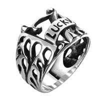 comeon® Finger Ring, Stainless Steel, word lucky, different size for choice & blacken, 24x16mm, Sold By PC