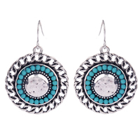 Resin Zinc Alloy Earring, with Resin, Flat Round, silver color plated, 25.19x36.74mm, Sold By Pair