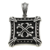 Stainless Steel Pendants, Square, blacken, 36x40x8mm, Hole:Approx 6x10mm, Sold By PC