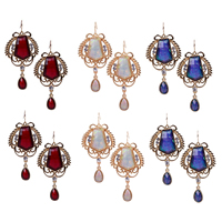 Resin Zinc Alloy Earring, with Resin, gold color plated, faceted & with rhinestone, more colors for choice, 33.8x68.5mm, Sold By Pair