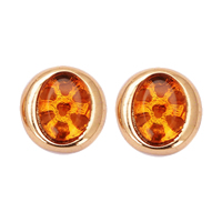 Resin Zinc Alloy Earring, with Resin, Oval, gold color plated, 6.6mm, Sold By Pair