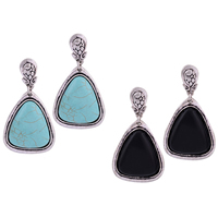 Resin Zinc Alloy Earring, with Resin, stainless steel post pin, Triangle, antique silver color plated, imitation turquoise, more colors for choice, 28.09x52.09mm, Sold By Pair