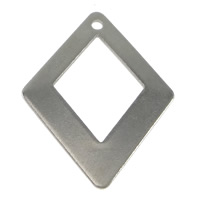 Stainless Steel Pendants, Rhombus, original color, 23x29x1mm, Hole:Approx 1.5mm, Sold By PC
