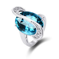 Cubic Zirconia Micro Pave Brass Finger Ring, with Glass, Flat Oval, platinum plated, micro pave cubic zirconia & faceted, sea blue, nickel, lead & cadmium free, 26x13mm, US Ring Size:8, Sold By PC