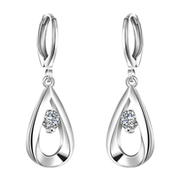 comeon® Jewelry Earring, Brass, Teardrop, real silver plated, with cubic zirconia, 11x33mm, Sold By Pair