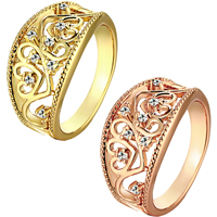 comeon® Finger Ring, Brass, plated, different size for choice & micro pave cubic zirconia, more colors for choice, 12mm, Sold By PC