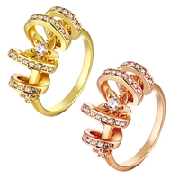 comeon® Finger Ring, Brass, plated, different size for choice & micro pave cubic zirconia, more colors for choice, 11mm, Sold By PC