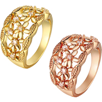 comeon® Finger Ring, Brass, plated, different size for choice & micro pave cubic zirconia, more colors for choice, 14mm, Sold By PC