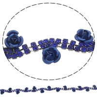 Brass Rhinestone Cup Chain, Aluminum, with Brass, Flower, plumbum black color plated, handmade & with painted & with rhinestone, dark blue, 10x6mm, Sold By Yard
