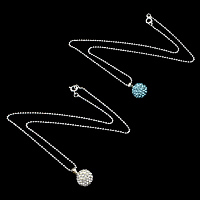 Rhinestone Brass Necklace, with Clay Pave, Round, platinum color plated, with 72 pcs rhinestone & ball chain, more colors for choice, nickel, lead & cadmium free, 12x16mm, 1.5mm, Length:Approx 16 Inch, Sold By Strand