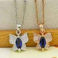 Cubic Zirconia Micro Pave Sterling Silver Pendant, 925 Sterling Silver, Butterfly, plated, micro pave cubic zirconia & faceted, more colors for choice, 12x13.5mm, Hole:Approx 3x5mm, Sold By PC