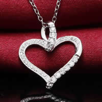 Cubic Zirconia Micro Pave Sterling Silver Pendant, 925 Sterling Silver, Heart, platinum plated, micro pave cubic zirconia, 16x19mm, Hole:Approx 3-5mm, Sold By PC