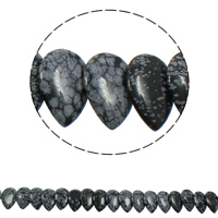 Snowflake Obsidian Bead, Teardrop, natural, 22x31x5mm, Hole:Approx 1mm, Length:Approx 15.5 Inch, Approx 23PCs/Strand, Sold By Strand