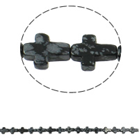 Snowflake Obsidian Bead, Cross, natural, 12x16x5mm, Hole:Approx 1mm, Length:Approx 16.5 Inch, Approx 25PCs/Strand, Sold By Strand