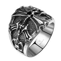 comeon® Finger Ring, Stainless Steel, different size for choice & with rhinestone & blacken, 27x22mm, Sold By PC