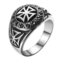 comeon® Finger Ring, Stainless Steel, different size for choice & with cubic zirconia & blacken, 27x18mm, Sold By PC