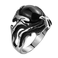 comeon® Finger Ring, Stainless Steel, different size for choice & with cubic zirconia & blacken, 25x25mm, Sold By PC