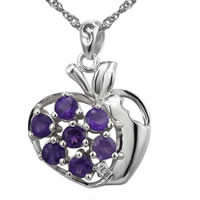 Cubic Zirconia Micro Pave Sterling Silver Pendant, 925 Sterling Silver, with Amethyst, Apple, platinum plated, micro pave cubic zirconia & hollow, 20.50x17.96mm, Hole:Approx 3x5mm, Sold By PC