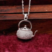 Cubic Zirconia Micro Pave Sterling Silver Pendant, 925 Sterling Silver, Teapot, platinum plated, micro pave cubic zirconia & hollow, 18x15mm, Hole:Approx 3x5mm, Sold By PC