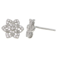 Cubic Zirconia Micro Pave Sterling Silver Earring, 925 Sterling Silver, with rubber earnut, Flower, micro pave cubic zirconia, 8x8x12mm, Sold By Pair