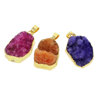 Natural Agate Druzy Pendant, Ice Quartz Agate, with Brass, gold color plated, druzy style & mixed, 15x20x7mm-20x25x15mm, Hole:Approx 5x7mm, 50PCs/Bag, Sold By Bag