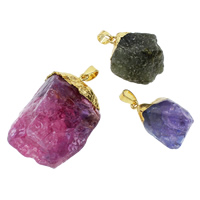 Ice Quartz Agate Pendants, with brass bail, gold color plated, mixed, 18x25x17mm-32x42x25mm, Hole:Approx 5x7mm, 100PCs/Bag, Sold By Bag