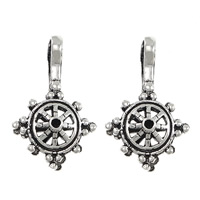 Buddha Bead Counter Clips, Thailand Sterling Silver, Ship Wheel, 16x17x9mm, Hole:Approx 5x4mm, Sold By PC