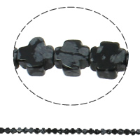 Snowflake Obsidian Bead, Cross, natural, 8x4mm, Hole:Approx 1mm, Length:Approx 16 Inch, Approx 50PCs/Strand, Sold By Strand