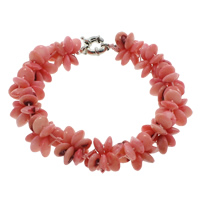 Natural Coral Bracelets, brass spring ring clasp, Flat Round, pink, 8x4mm, Length:Approx 6.5 Inch, Sold By Strand