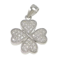 Sterling Silver Clover Pendant, 925 Sterling Silver, Four Leaf Clover, micro pave 48 pcs cubic zirconia, 15x18x2.5mm, Hole:Approx 3.5x4.5mm, Sold By PC