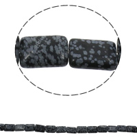 Snowflake Obsidian Bead, Rectangle, natural, 13x18x6mm, Hole:Approx 1.5mm, Length:Approx 15.7 Inch, Approx 22PCs/Strand, Sold By Strand