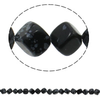 Snowflake Obsidian Bead, Cube, natural, 13x10mm, Hole:Approx 1.5mm, Length:Approx 16.5 Inch, Approx 33PCs/Strand, Sold By Strand