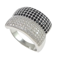 Cubic Zirconia Micro Pave Brass Finger Ring, platinum plated, micro pave 150 pcs cubic zirconia, 14mm, US Ring Size:6, Sold By PC