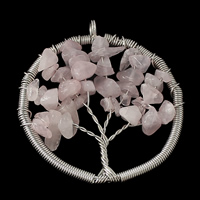 Natural Quartz Pendants, Rose Quartz, with Brass, Flat Round, platinum color plated, 50x54x8mm, Hole:Approx 4.5mm, Sold By PC