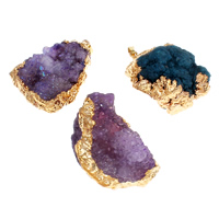 Ice Quartz Agate Pendants, with Brass, gold color plated, druzy style & mixed, 33x42x18mm-35x48x25mm, Hole:Approx 2x5mm, 20PCs/Bag, Sold By Bag