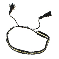 Friendship Bracelets, Glass Seed Beads, with Cotton, adjustable, more colors for choice, 7mm, Length:Approx 13 Inch, Sold By Strand