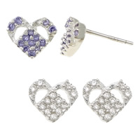 Cubic Zirconia Micro Pave Sterling Silver Earring, 925 Sterling Silver, Heart, without earnut & micro pave cubic zirconia, more colors for choice, 8x7x13mm, 0.8mm, Sold By Pair