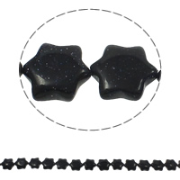 Blue Goldstone Beads, Flower, natural, 13x15x5mm, Hole:Approx 1.5mm, Length:Approx 15.7 Inch, Approx 28PCs/Strand, Sold By Strand