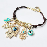 Hamsa Bracelets, Zinc Alloy, with Waxed Cotton Cord & Resin, with 0.8lnch extender chain, gold color plated, evil eye pattern & enamel & with rhinestone, 22x25mm, Length:Approx 7.5 Inch, Sold By Strand