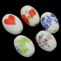 Printing Porcelain Beads, Oval, different size for choice & different designs for choice, Sold By PC