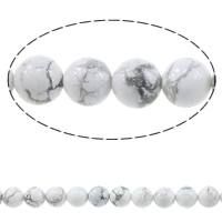 Natural Turquoise Beads, Round, different size for choice, white, Length:15 Inch, Sold By Strand