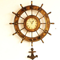 Wall Clock, Iron, with Glass, Ship Wheel, antique brass color plated, nautical pattern, 640x800mm, Sold By PC