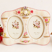 Resin Photo Frame, with Cardboard & PVC Plastic, brushwork, with flower pattern & with rhinestone, 190x240mm, Sold By PC