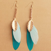 Fashion Feather Earring , Zinc Alloy, with Feather, brass earring hook, gold color plated, 70mm, Sold By Pair