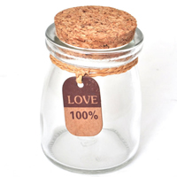 Glass Bead Container, with wood stopper, word love, clear, 75mm, Sold By PC