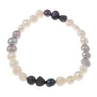 Cultured Freshwater Pearl Bracelets, Baroque, multi-colored, 7-8mm, Length:Approx 7 Inch, Sold By Strand